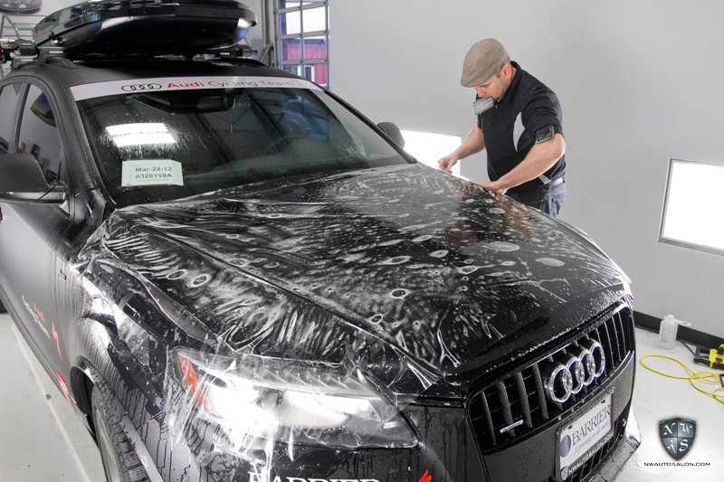 Seattle Auto Detailing Audi Cycling Team Commercial Vehicle Satin Wrap Q7 TDI at NWAS
