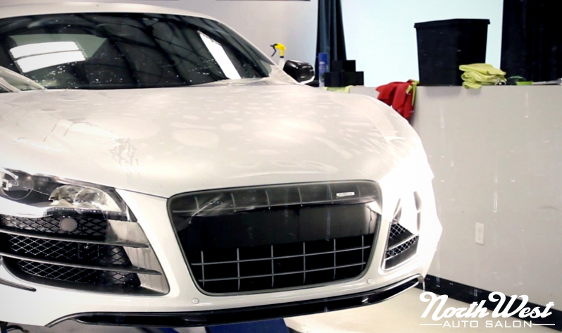 Seattle Auto Detailing twin Audi R8 GTs Suzuka Grey full car clear bra