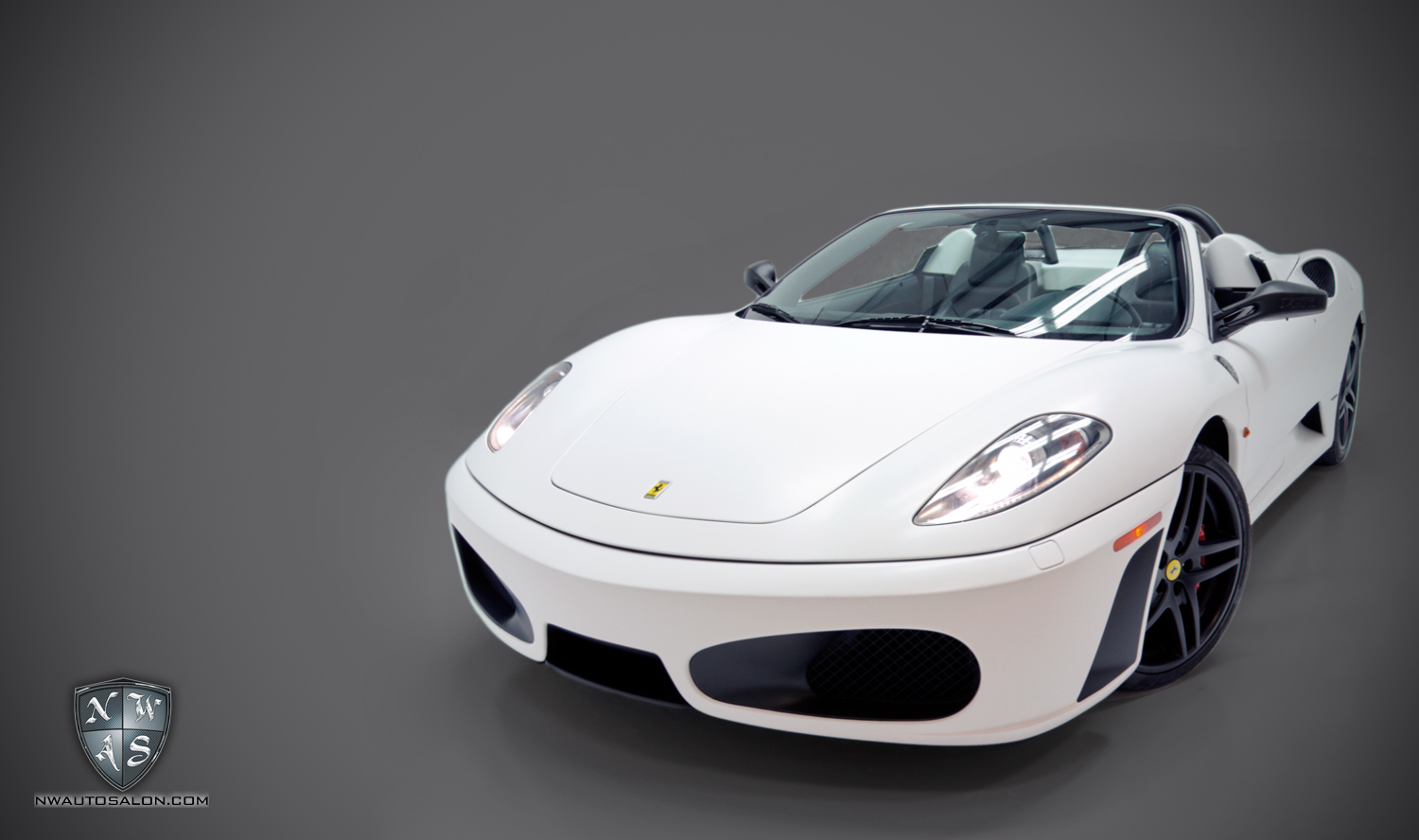 Alderwood Auto Detailing NorthWest Auto Salon Ferrari F430 Matte White Vehicle Wrap Black accents