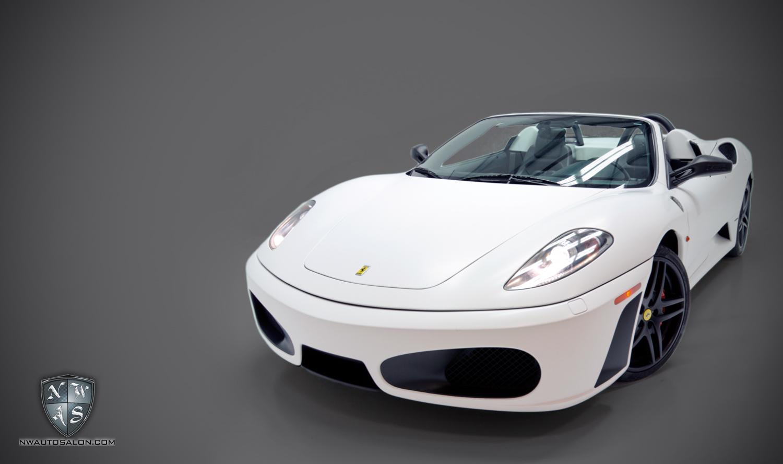 Alderwood Auto Detailing NorthWest Auto Salon Ferrari F430 Matte White Vehicle Wrap Black accents