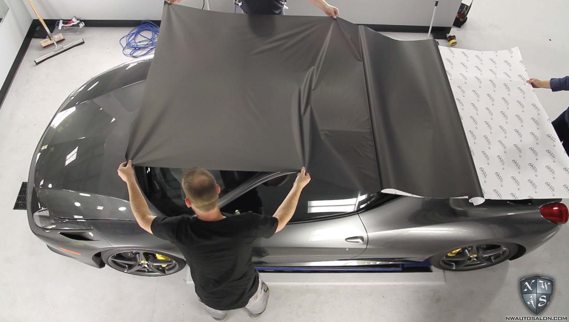 Ferrari 458 Clear Bra Paint Protection Film Video Photos Matte Black Wrap