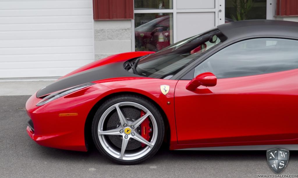 Ferrari 458 matte black vinyl wrap roof