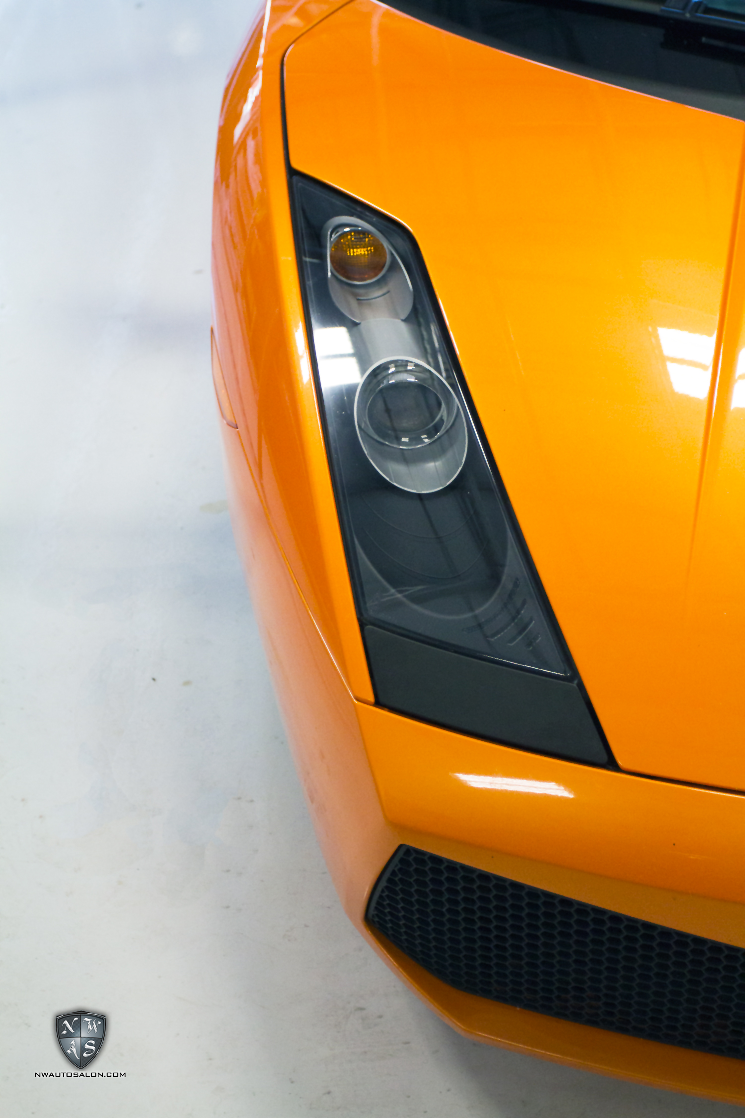 Alderwood Auto Detailing NorthWest Auto Salon Lamborghini Gallard headlight restoration and clear protection film