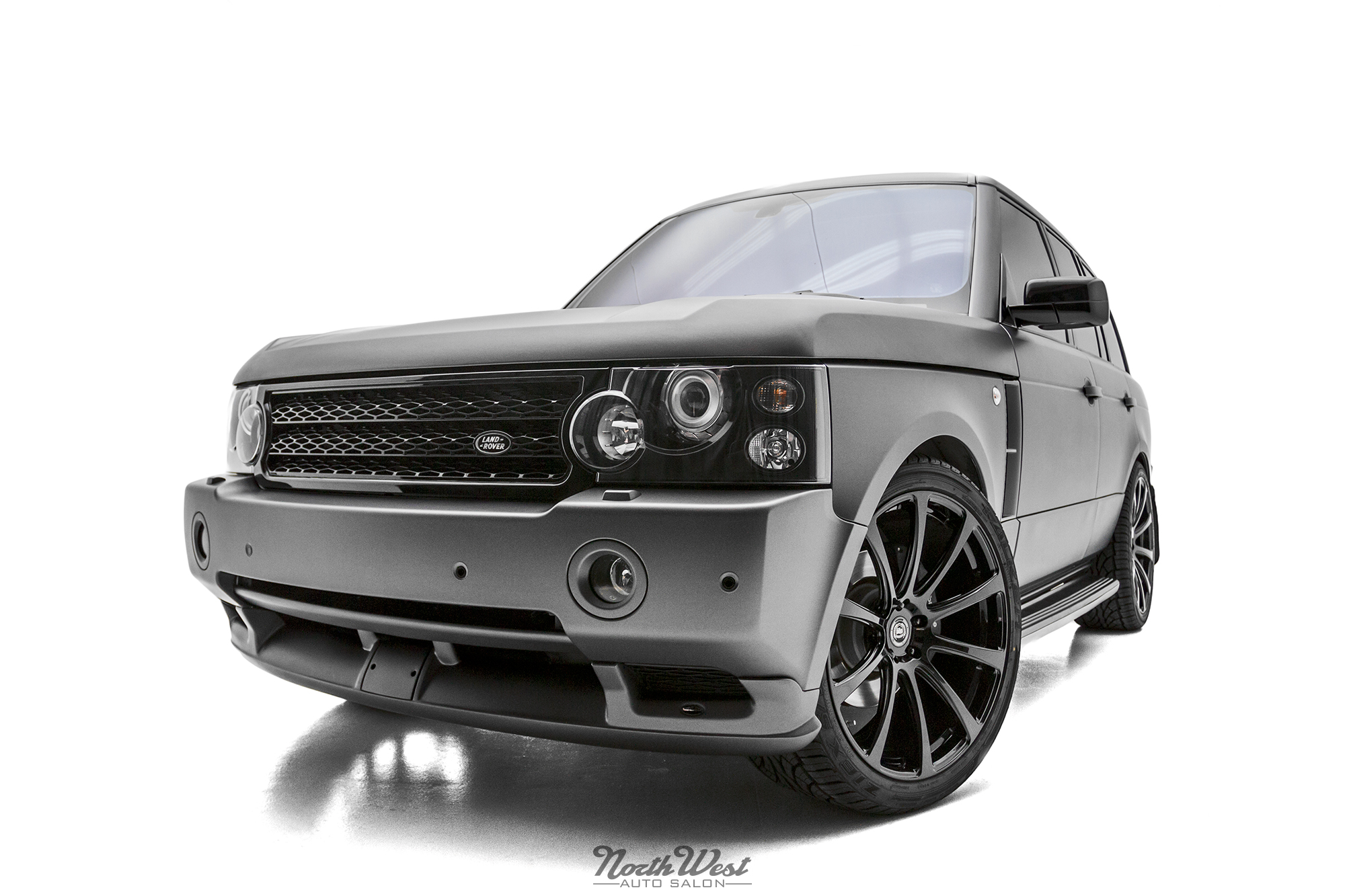 Range Rover HSE Matte Metallic vehicle wrap with DPE Wheels and Overfinch bodykit