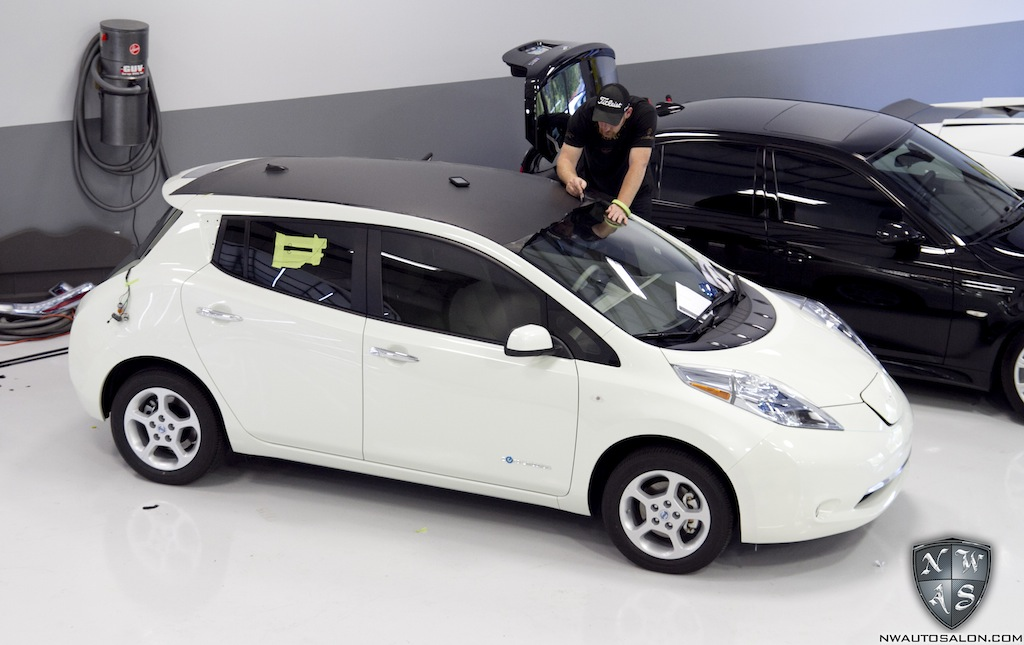 Nissan Leaf Gets Partial Matte Black Vinyl Wrap