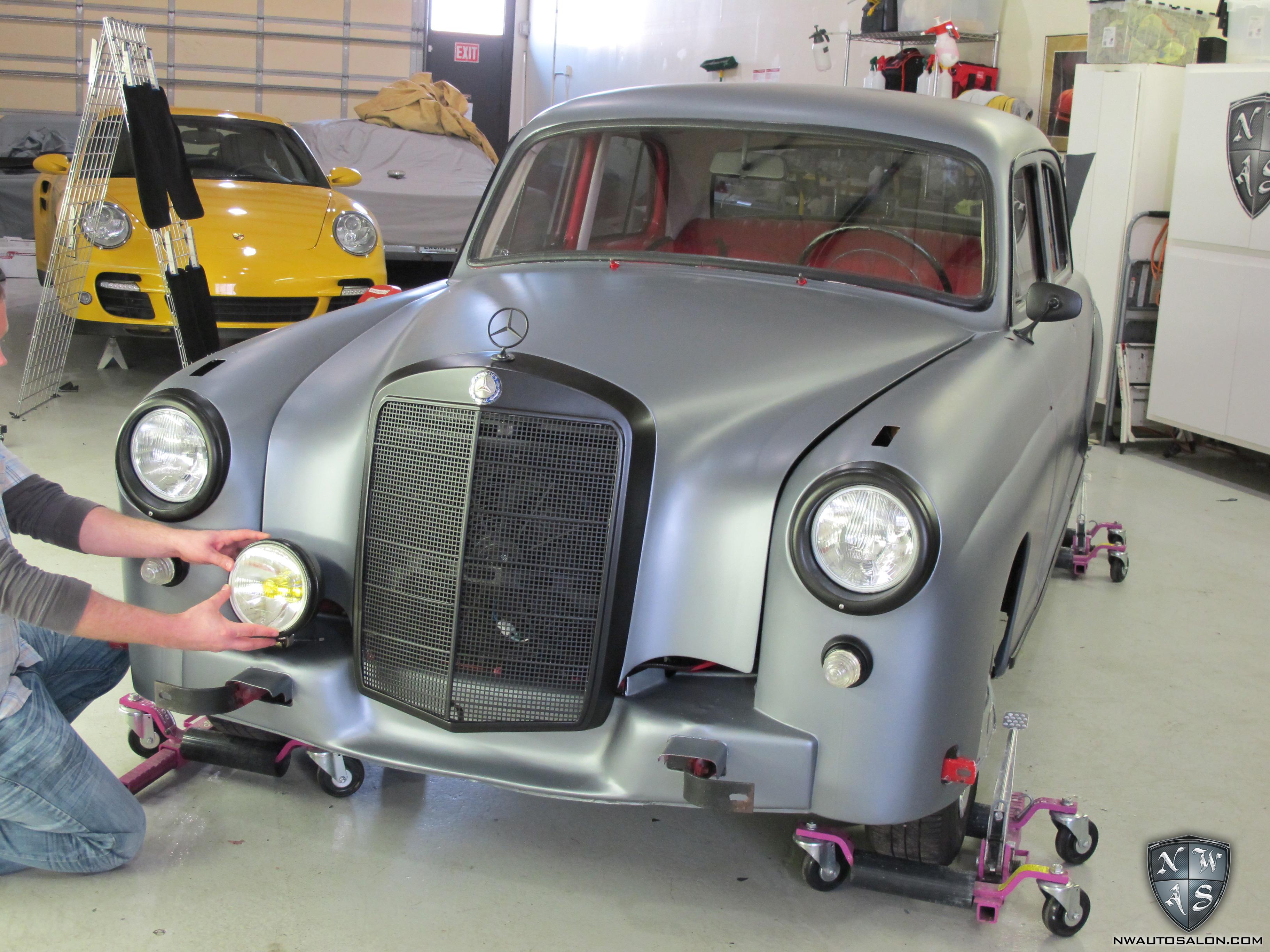 Matte Grey Vinyl Wrap Mercedes Benz 220S Ponton NWAS