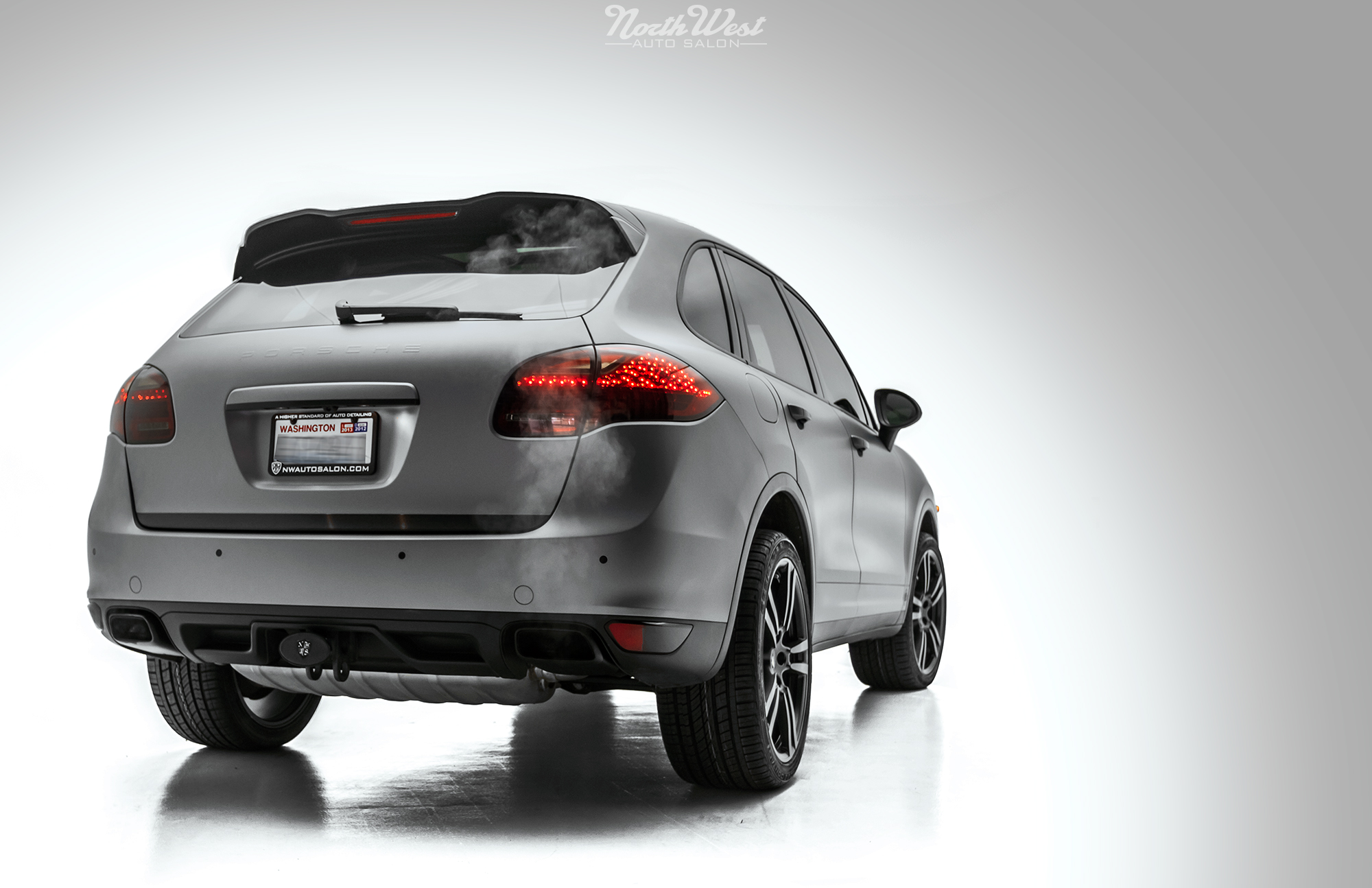 Porsche Cayenne Full Matte Silver vehicle wrap at NWAS