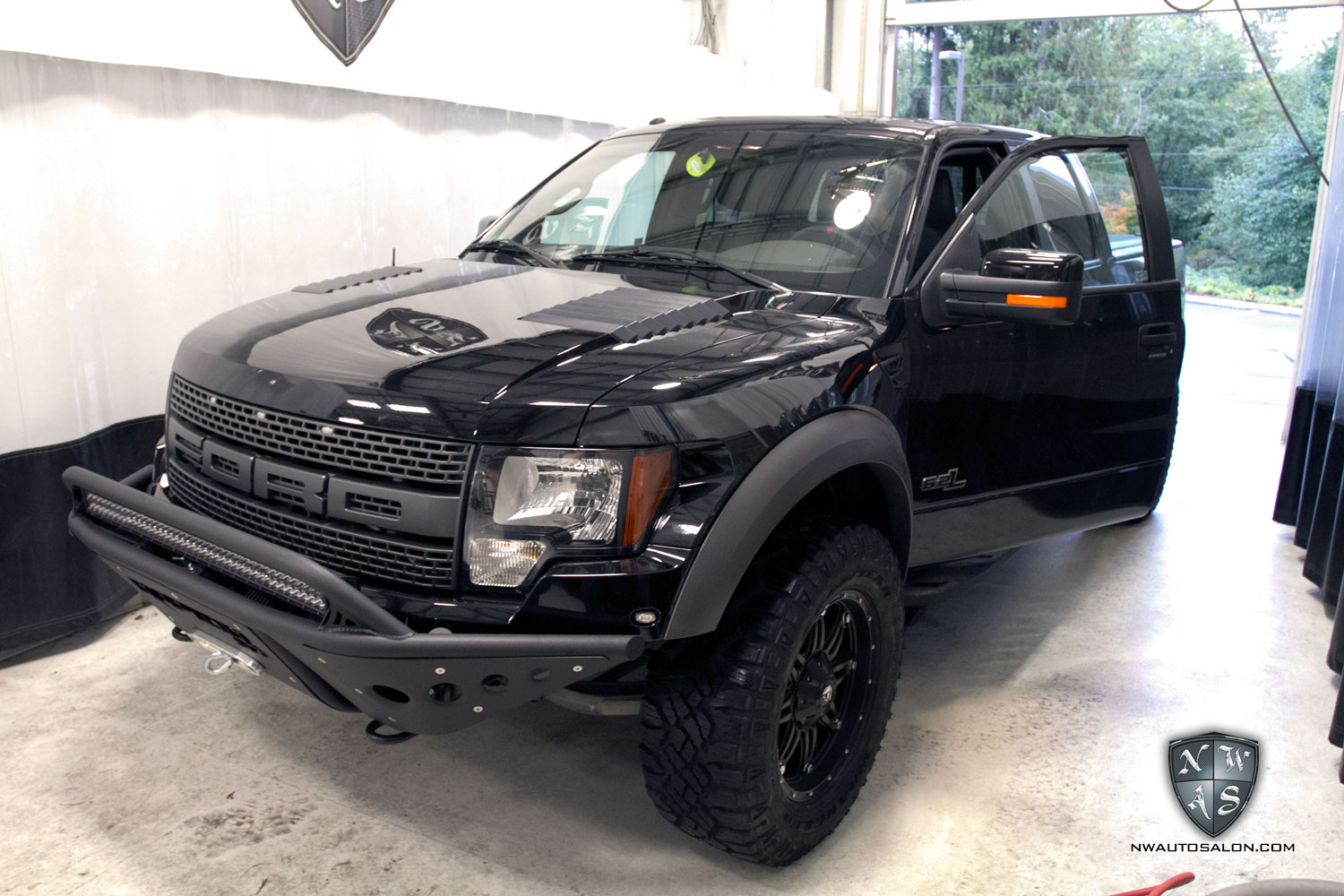 Lynnwood Auto Detailing NorthWest Auto Salon Ford SVT Raptor Super Crew Matte Black Satin Wrap Custom Graphics Ken Block
