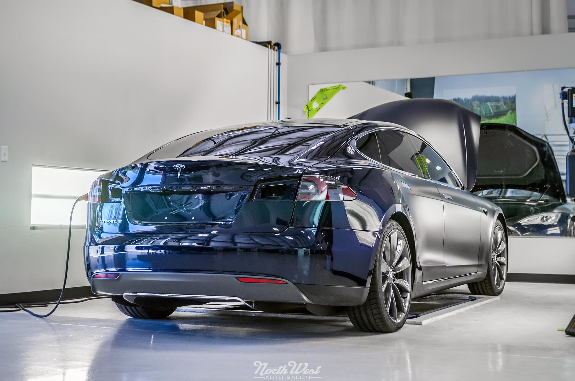 NWAS Tesla Model S vehicle wrap in satin XPEL Stealth paint protection film