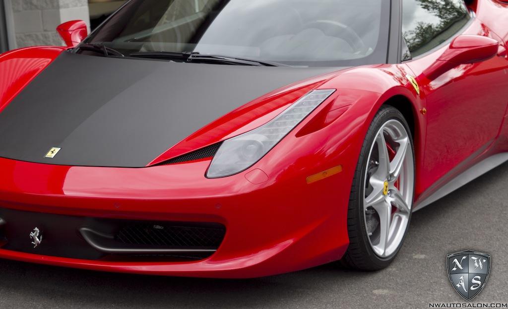 Partial Matte Black Vinyl Wrap On Red Ferrari 458 Italia
