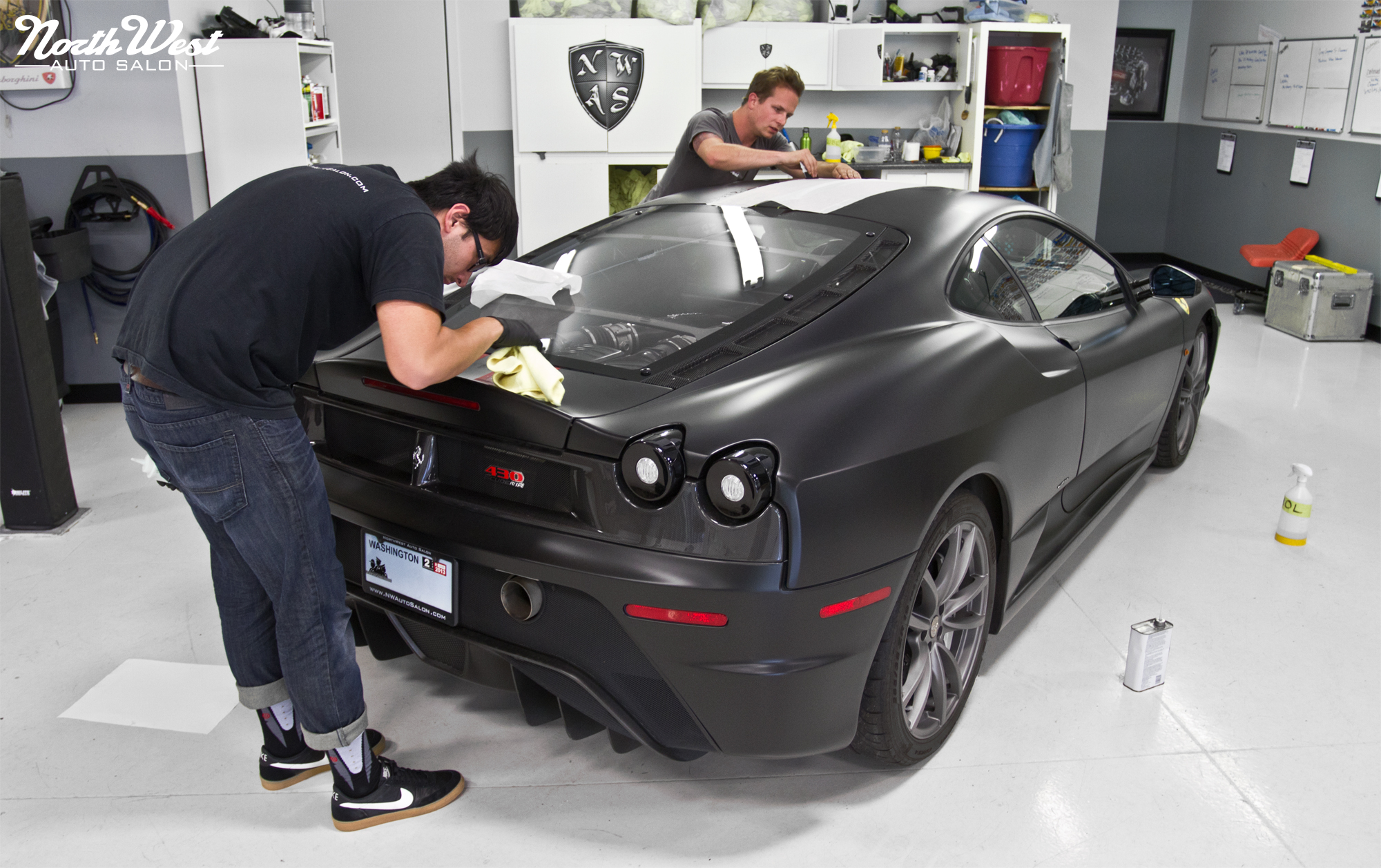 Matte Black Ferrari F430 Scuderia With Multi Layer